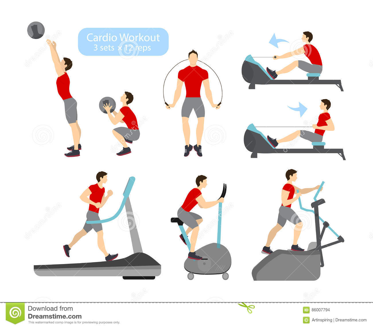 Strength Training For Cycling: Cardio Workout Exercises. Stock Vector. Illustration Of