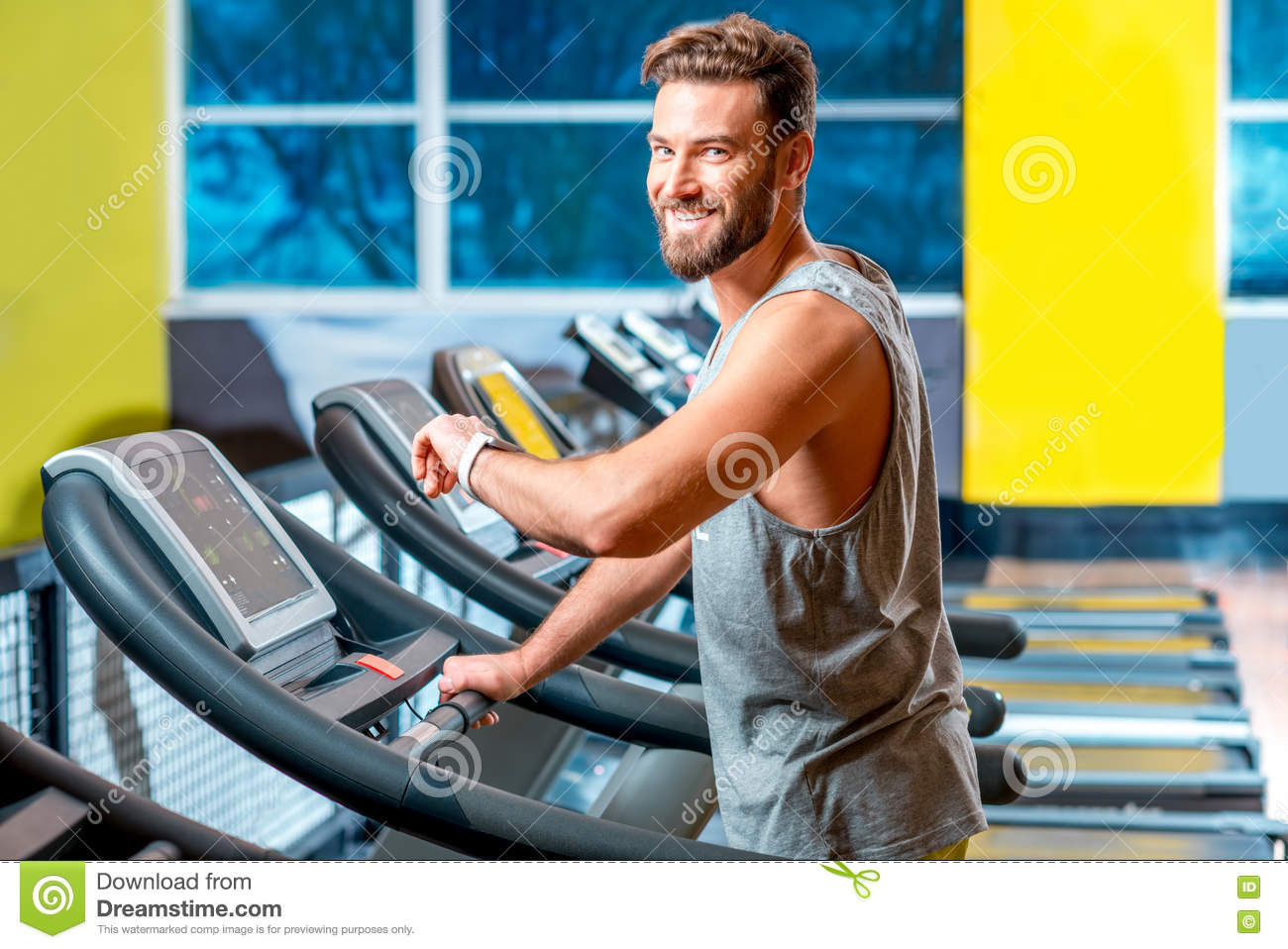 Download Cardio Workout In The Gym Stock Image Of Looking