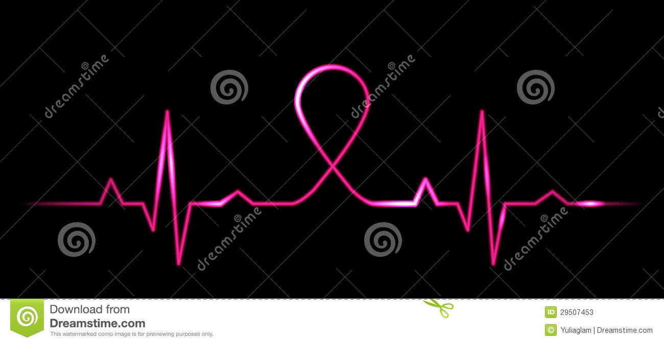 Cardiogram With Breast Cancer Symbol Stock Vector Illustration Of