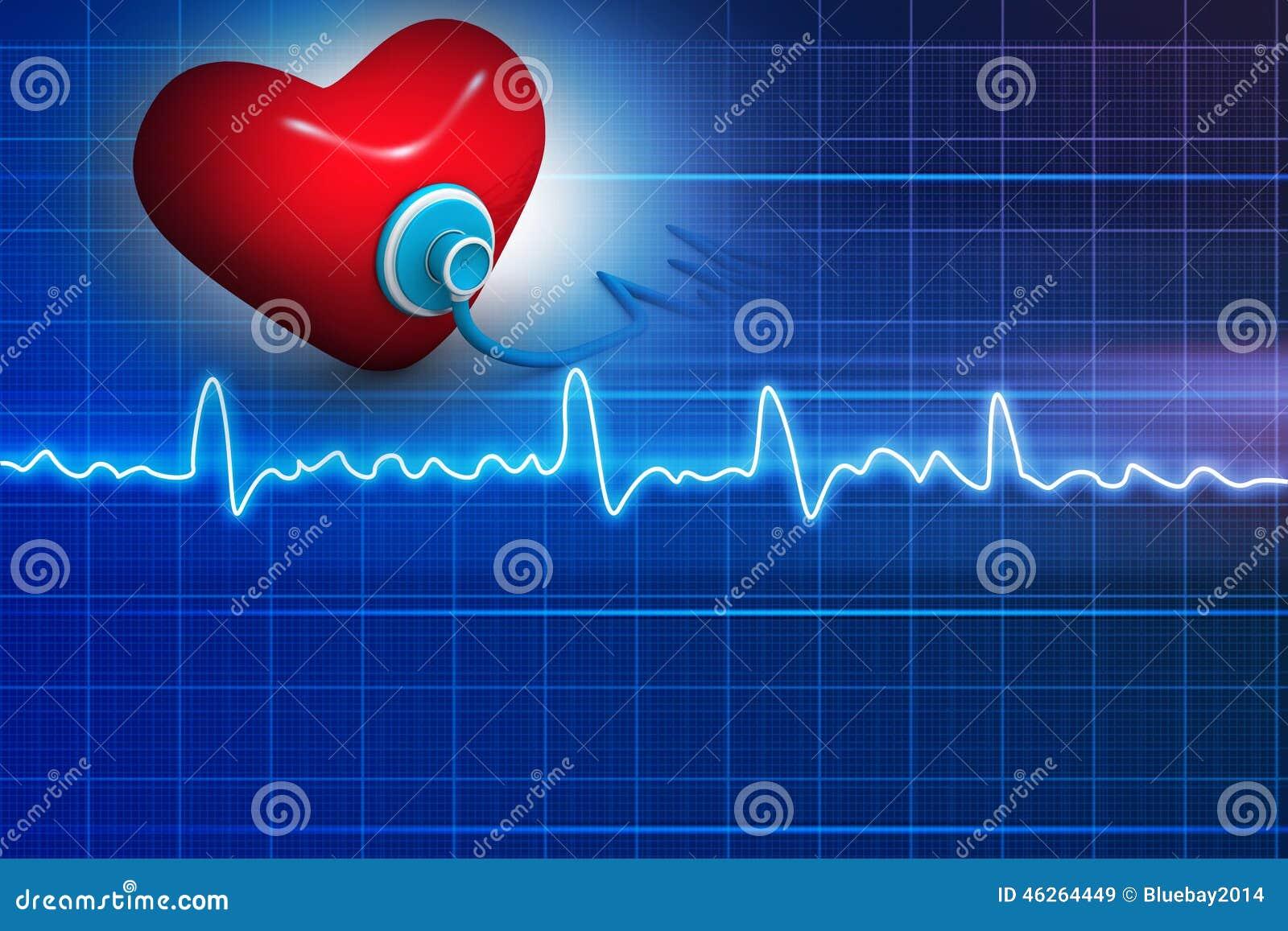 Cardiograma, amor e estetoscópio