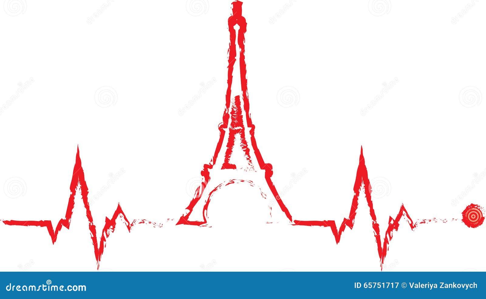 Cardiograma de la torre de Eifel del vector