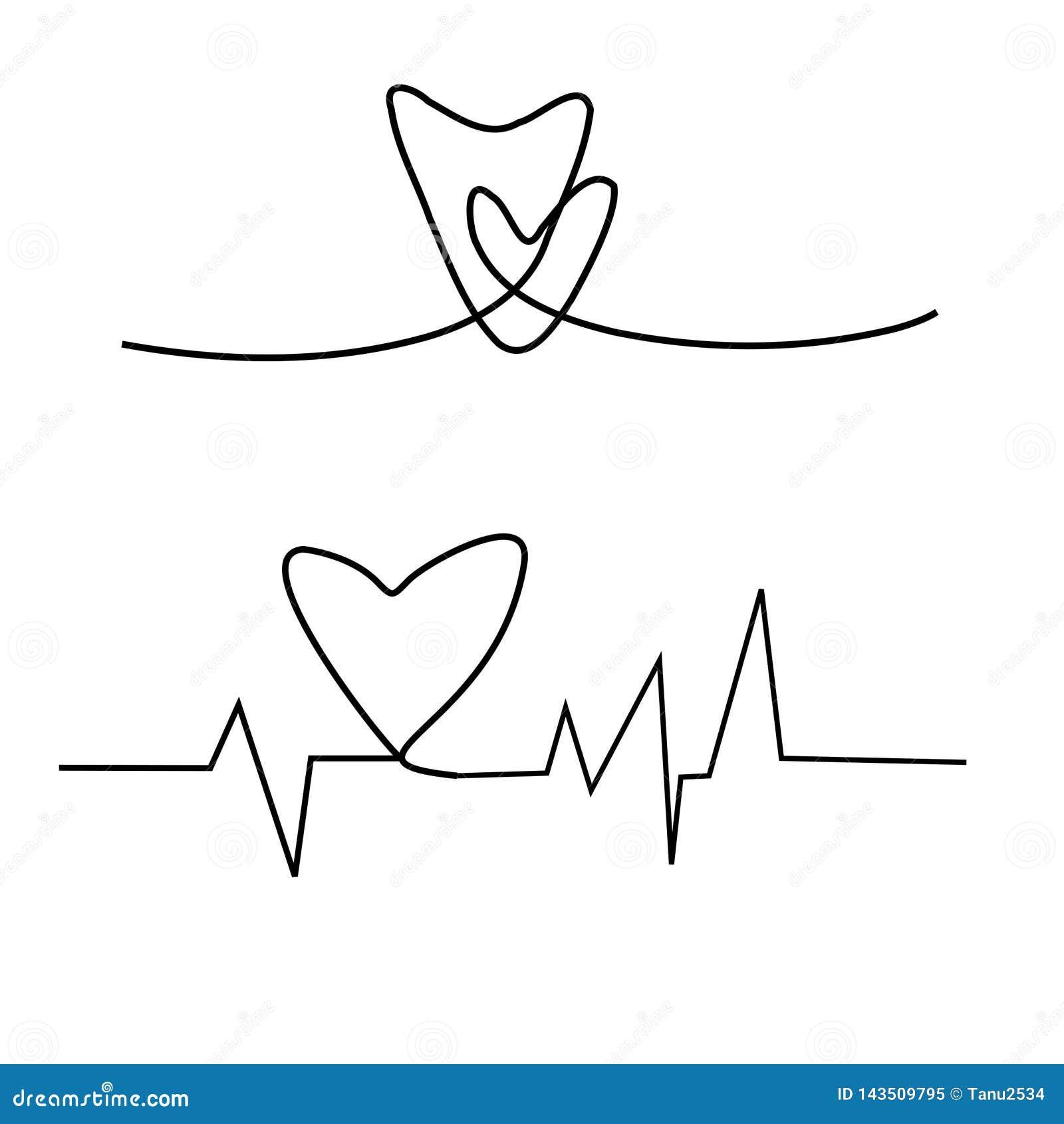 Cardiogramme sur le fond blanc, cardiogramme de l amour