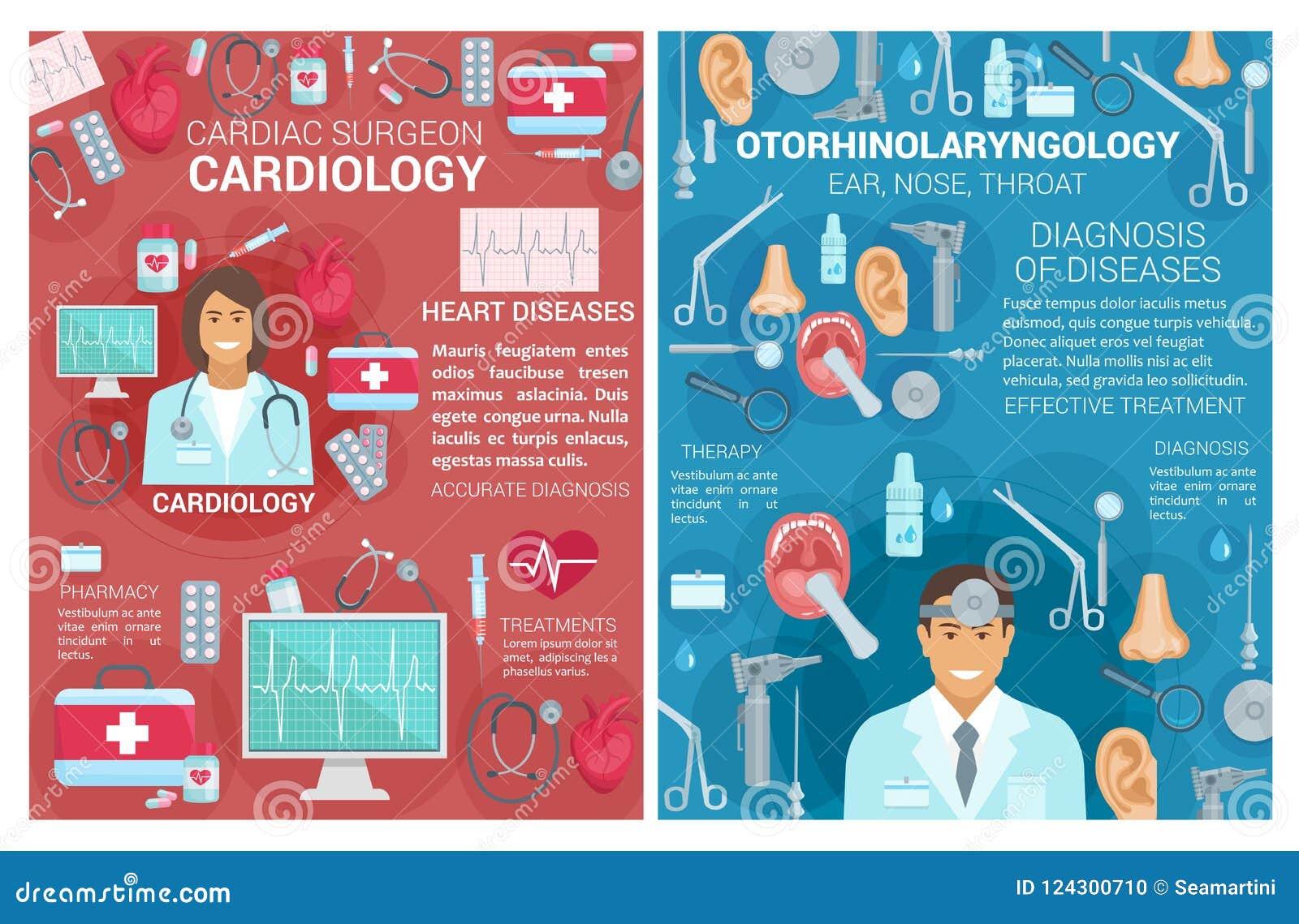 Cardiologie, affiches de clinique de médecine d oto-rhino-laryngologie