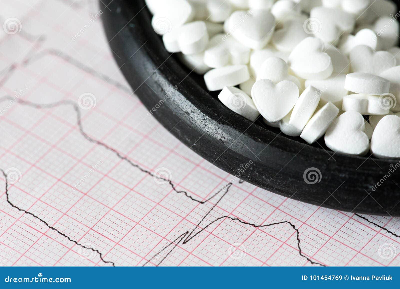 Cardiology Makro av ECG-grafen och cardio pills Preventivpillerar som en höra