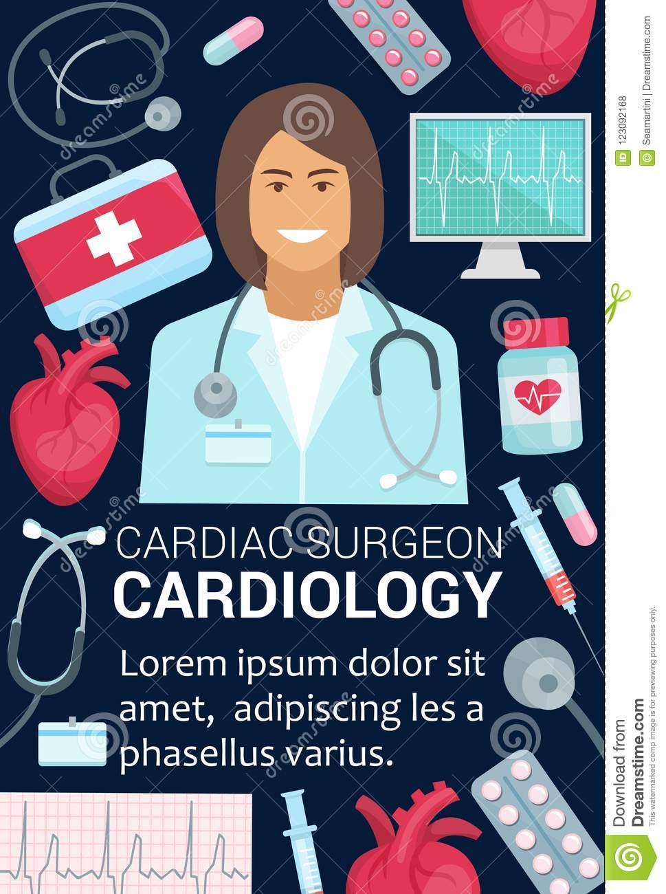 Cardiology Surgeon Doctor And Heart Medical Poster Stock Vector Illustration Of Help Care 123092168