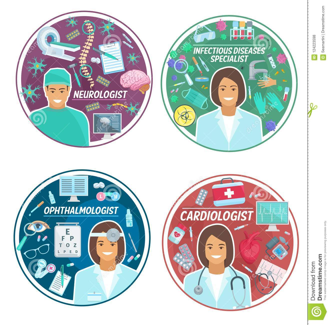 Medical Clinic Doctors Vector Icons Stock Vector