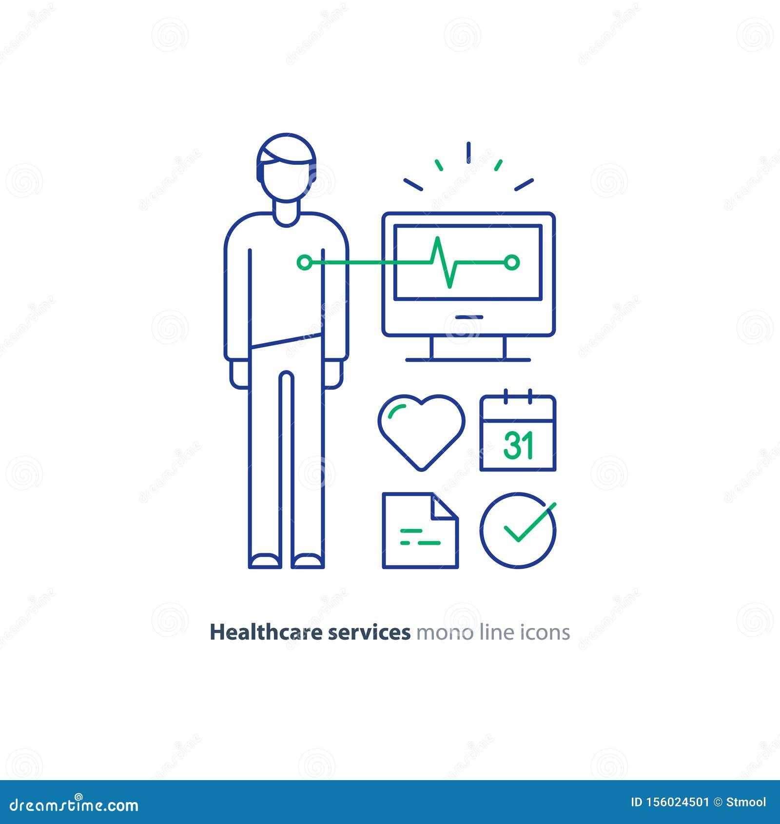 Heart test line icon, electrocardiogram monitor logo, cardiology examination