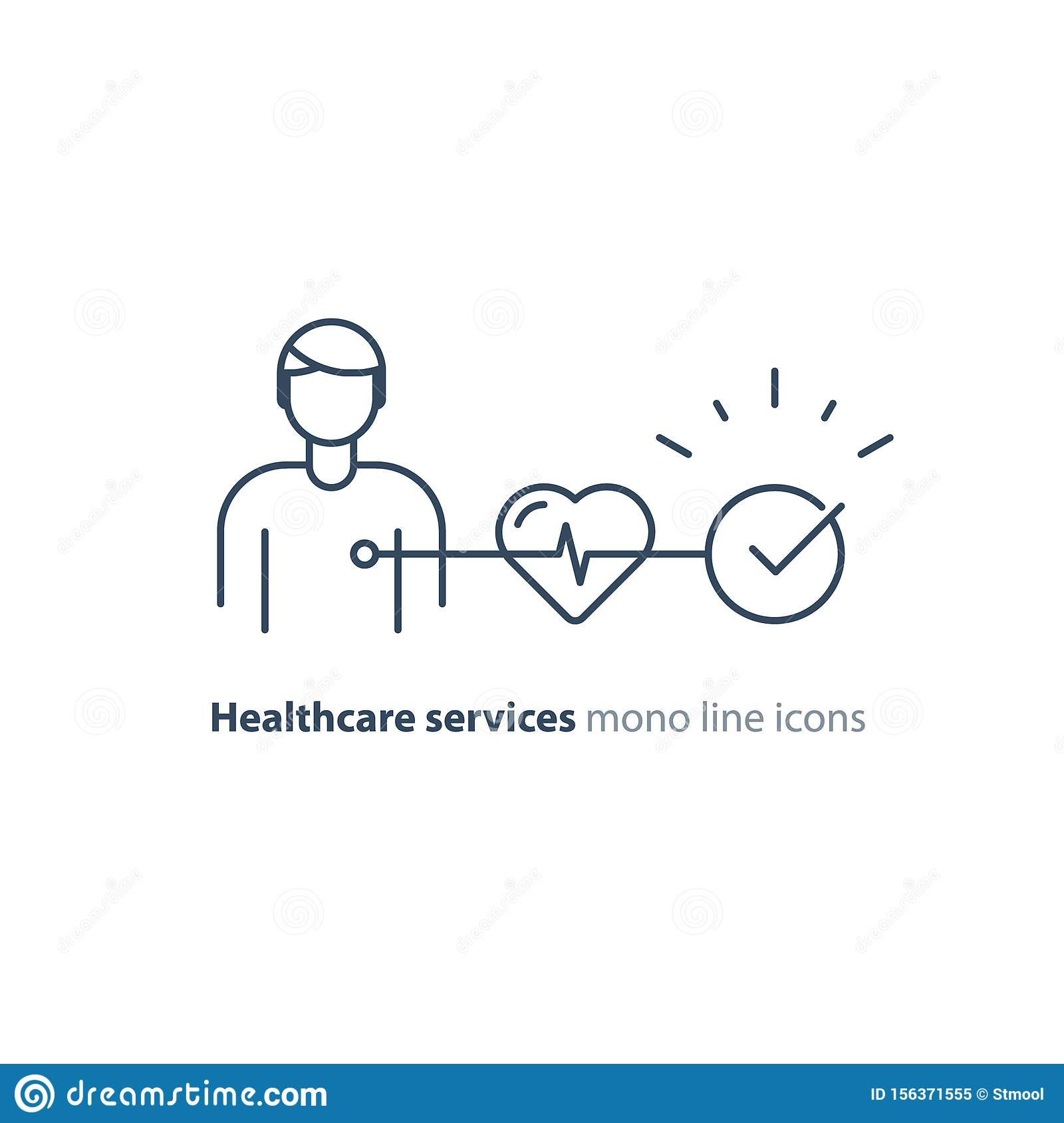 Heart test line icon, electrocardiogram monitor logo, cardiology examination