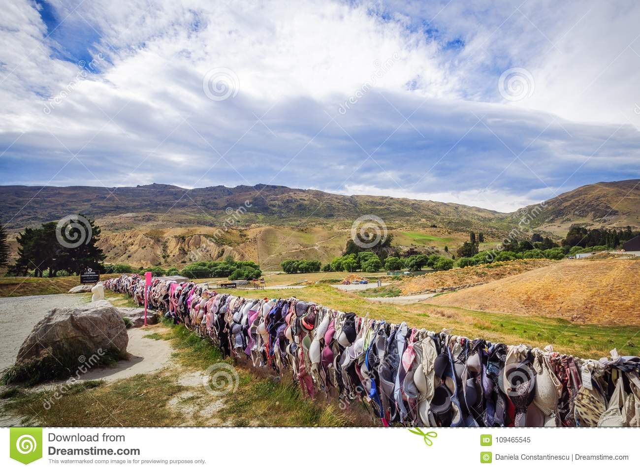 The Wall of Bras in Cardrona Valley, New Zealand