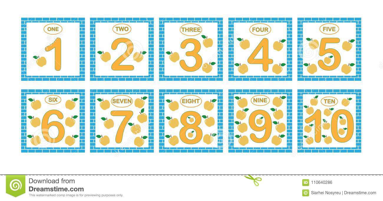 Cards With Numbers From 1 To 10, Set. Learning Numbers, Mathematics ...
