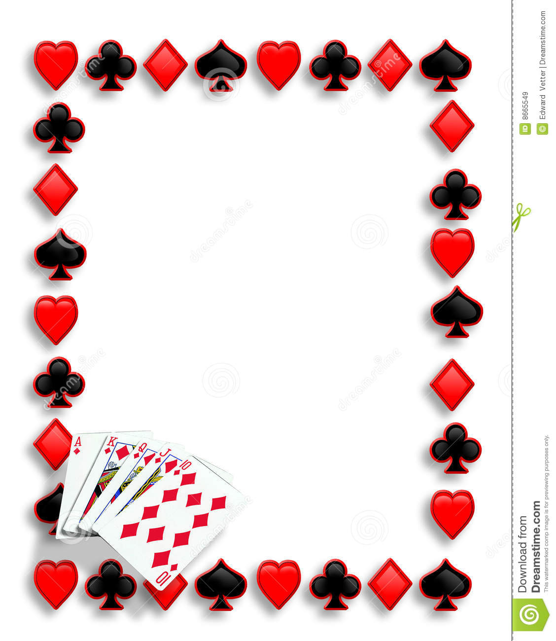 graphic regarding Printable Playing Card Stock named Playing cards Poker Border Royal Flush Inventory Instance