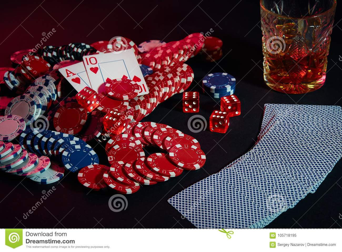 Cards Of Poker Player On The Table Are Chips And A Glass Of Cocktail With Whiskey Combination Of Cards Stock Image Image Of Active Group 105718195