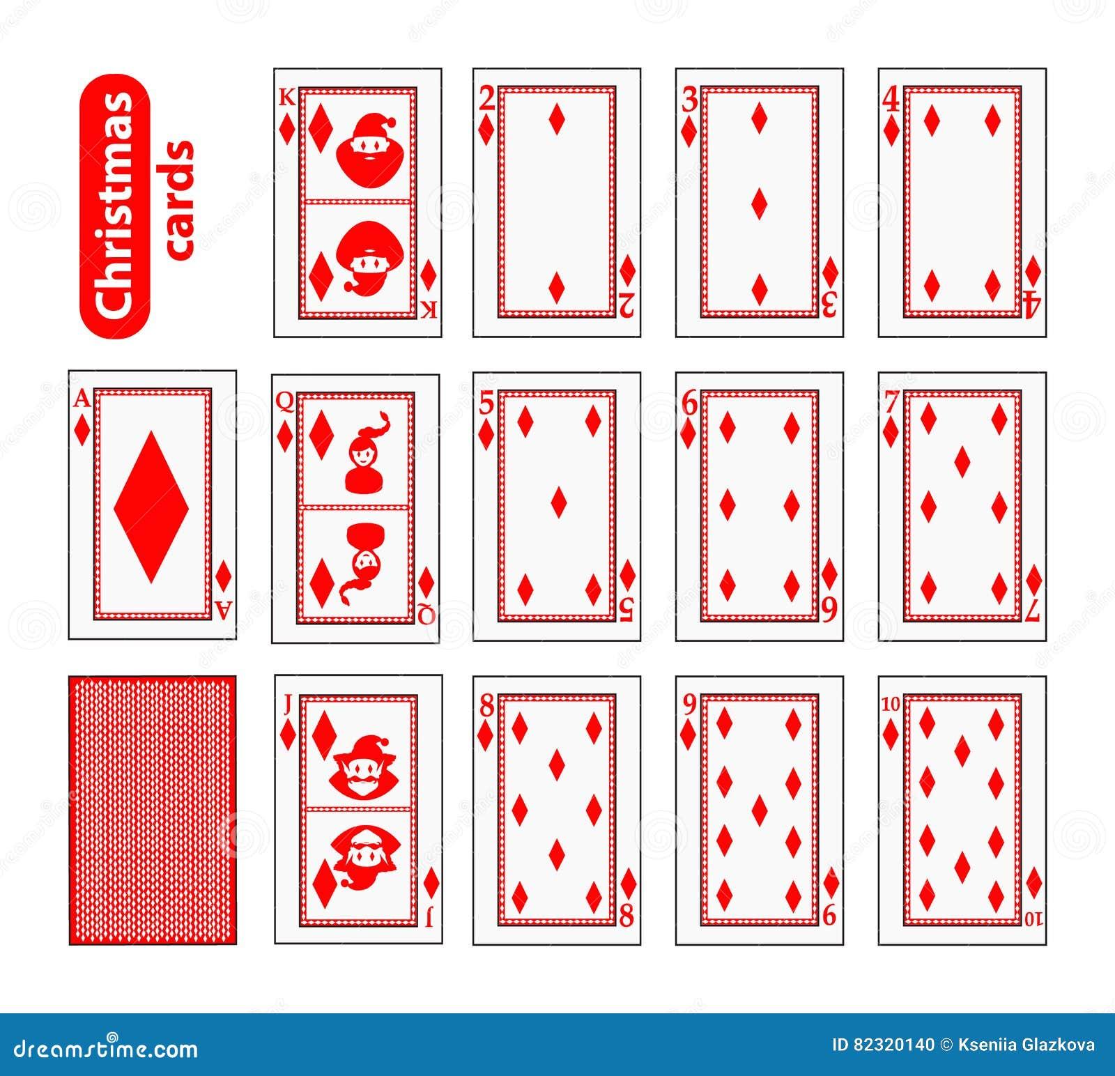Cards Poker Set Christmas Icons. Color Red Diamond. Santa Claus ...