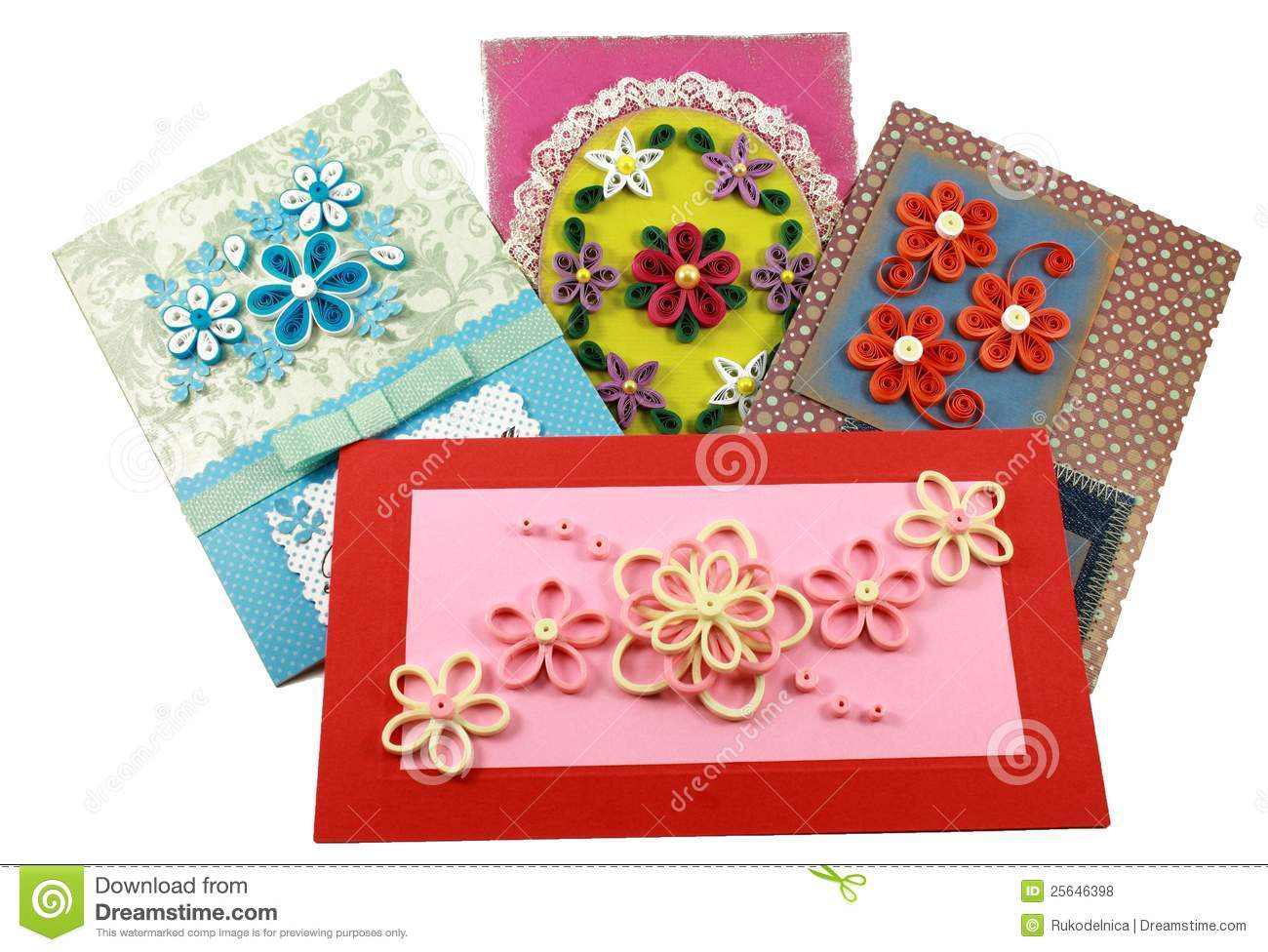 Cards With Quilling Flowers Stock Photo - Image of congratulations ...