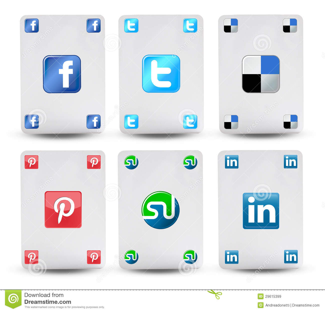 Cards With The Symbol Of Social Networks Editorial Stock Image