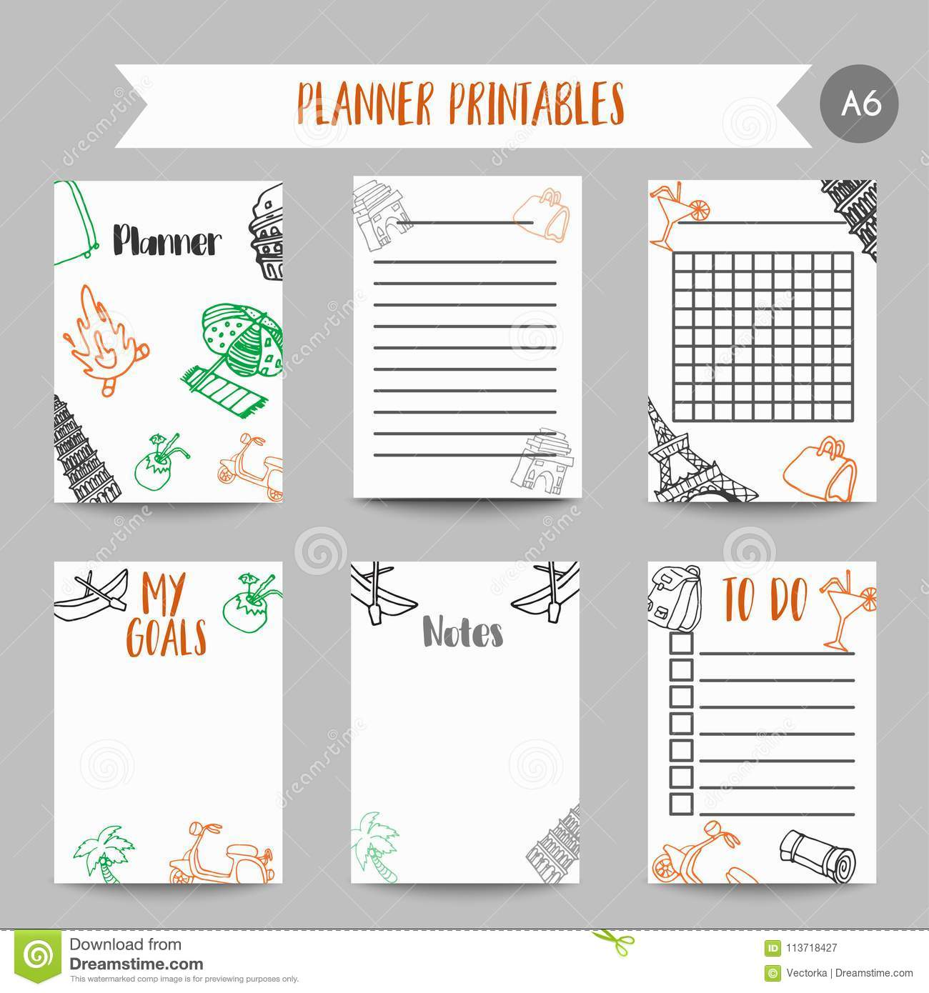 cards and symbols for organized you planner printables with tarvel