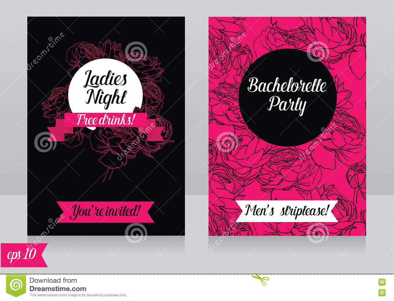 Cards Template For Ladies Bachelorette Party Stock Vector