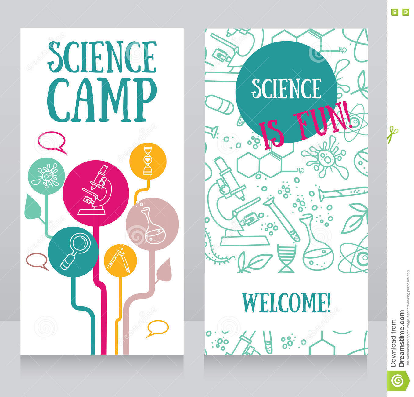 Cards Template For Science Camp Stock Vector Illustration Of