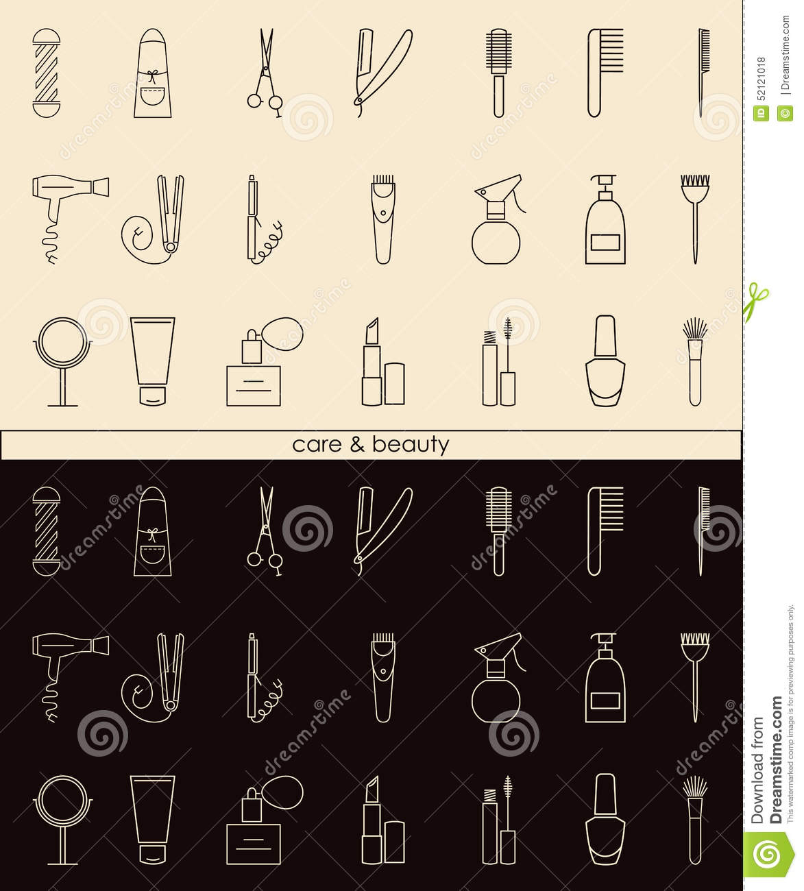 Care&Beauty linear icons for barber shop or beauty salon.