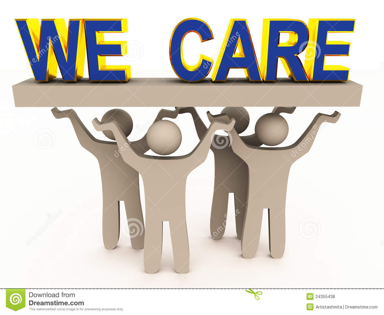 Customer care concept image with figures holding we care words on a ...