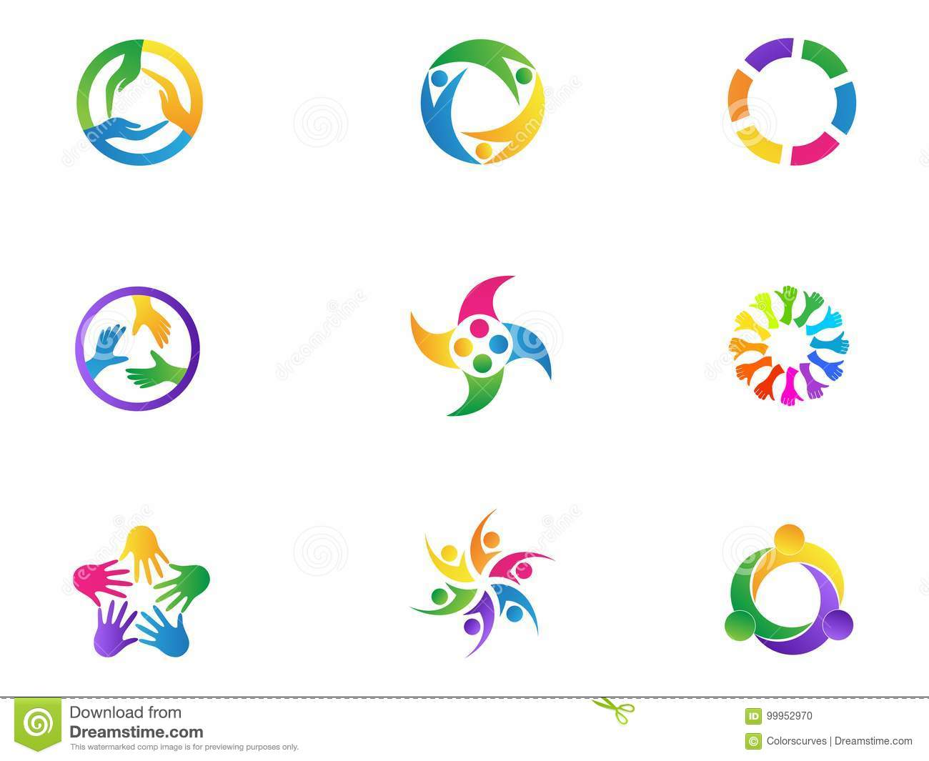 Care Hands Logo Teamwork People Diversity Unity Symbol Vector Icon Set Design Stock Vector Illustration Of Corporate Curves 99952970