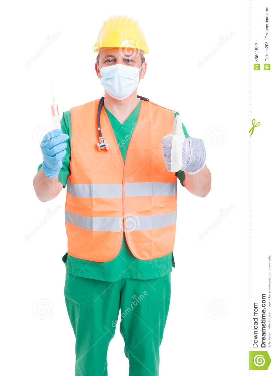 career choice concept as doctor medic or builder stock photo career choice concept as doctor medic or builder