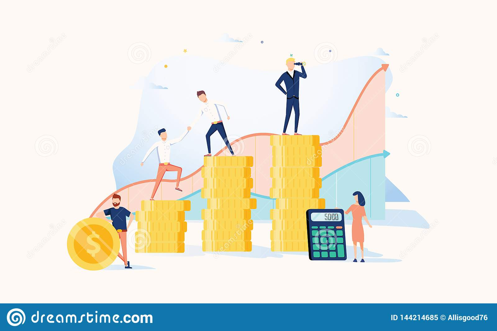 Career growth to success. Business people. Vector illustration. Achievement concept. Financial wealth and work promotion