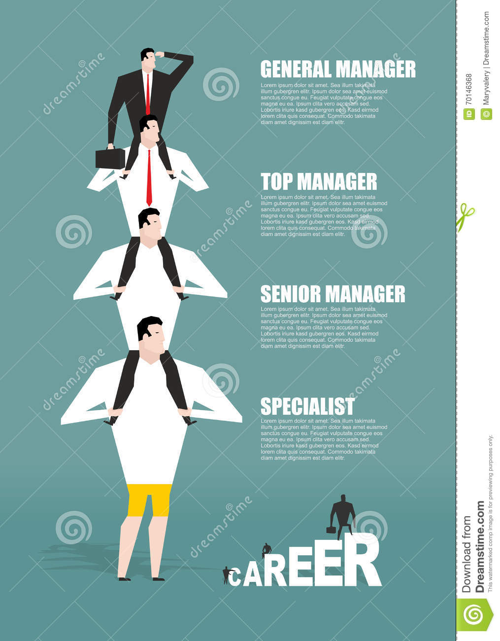 Career infographics. Hierarchy in business. boss to sit on his s