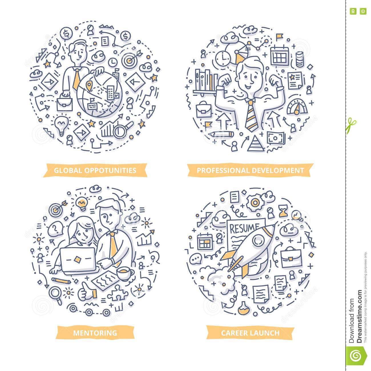 Career & Leadership Doodle Illustrations Stock Vector