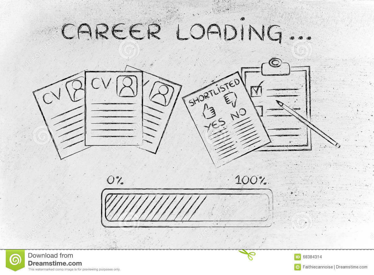 Career Loading: CV And Shortlist Of Candidates Stock Photo - Image ...