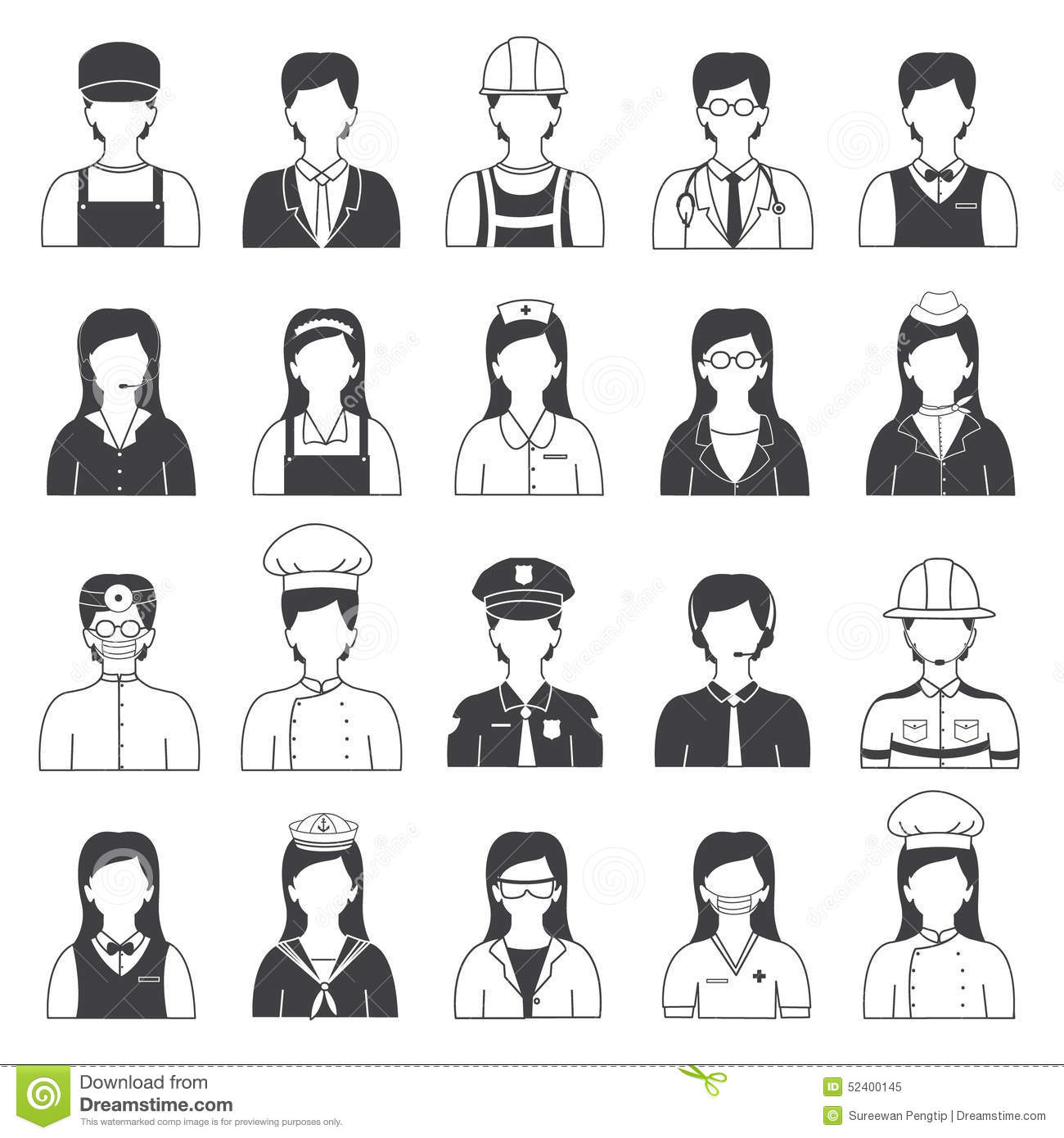 Stock Illustration Career People Occupation Icons Set Black White Like Doctor Nurse Secretary Etc Image52400145 on illustration career information