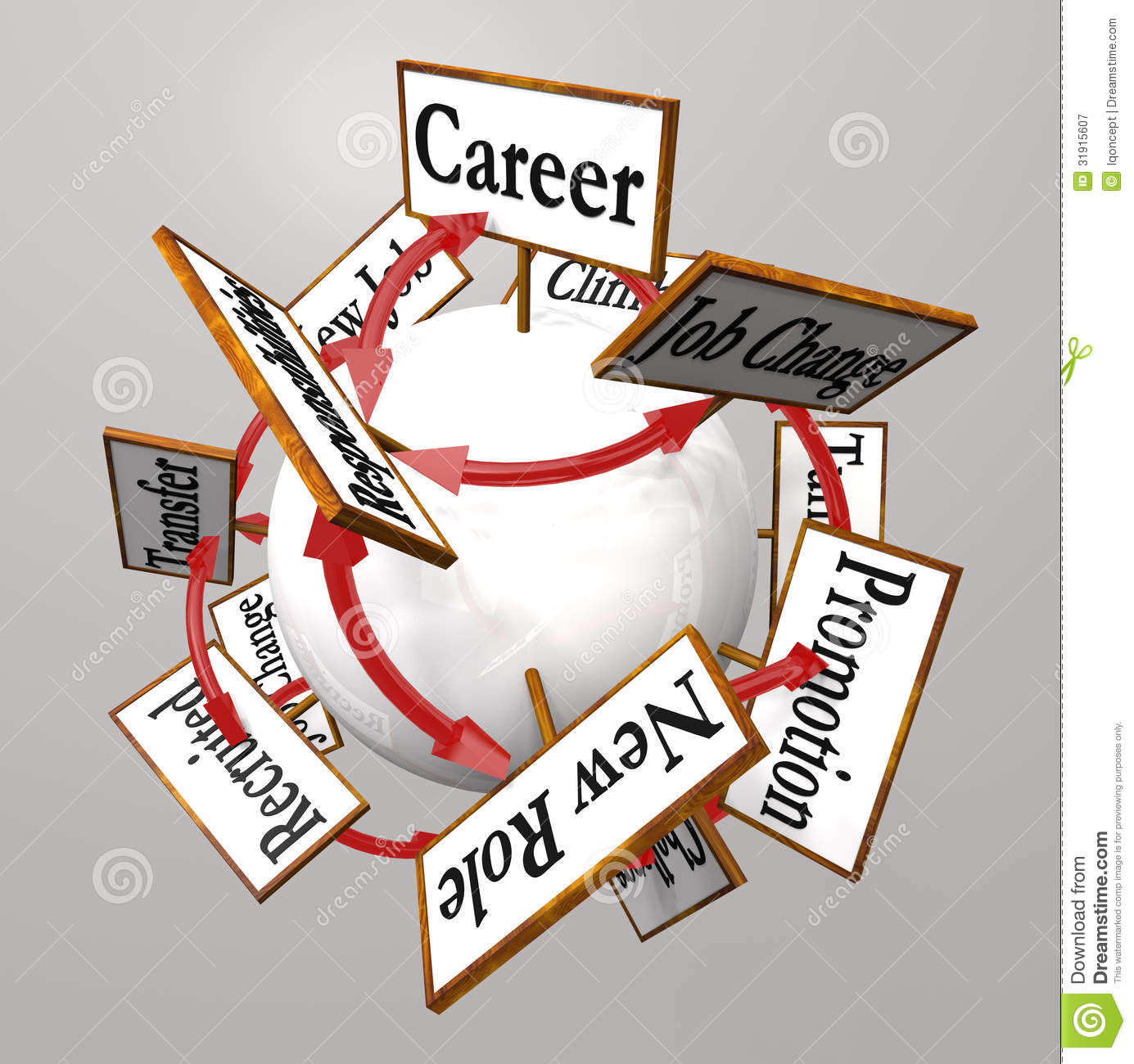 career vs job sphere cubes work opportunity growth development career signs professional job path promotion change royalty stock photography