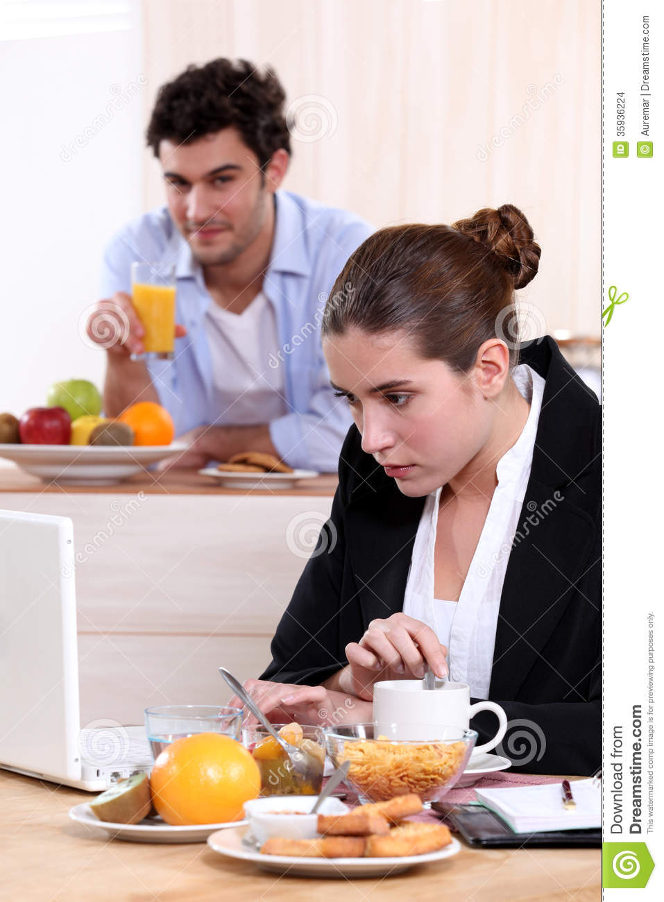 career w eating breakfast stock images image  career w eating breakfast