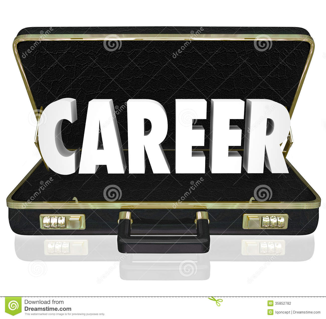 career word black briefcase new job working position stock