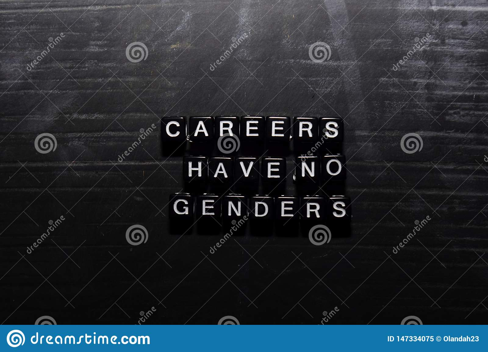 Careers have no genders on wooden blocks. Education, Motivation and inspiration concept