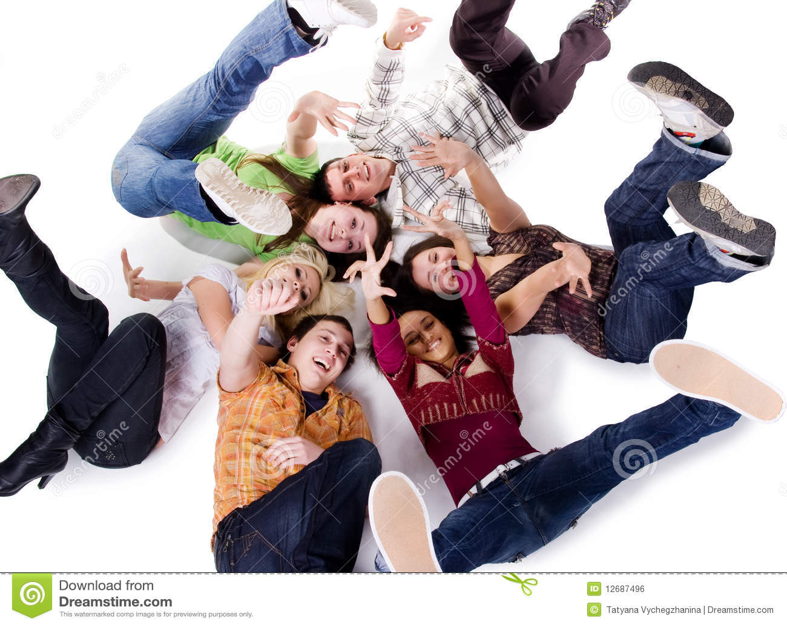 Carefree grupplietonåringar