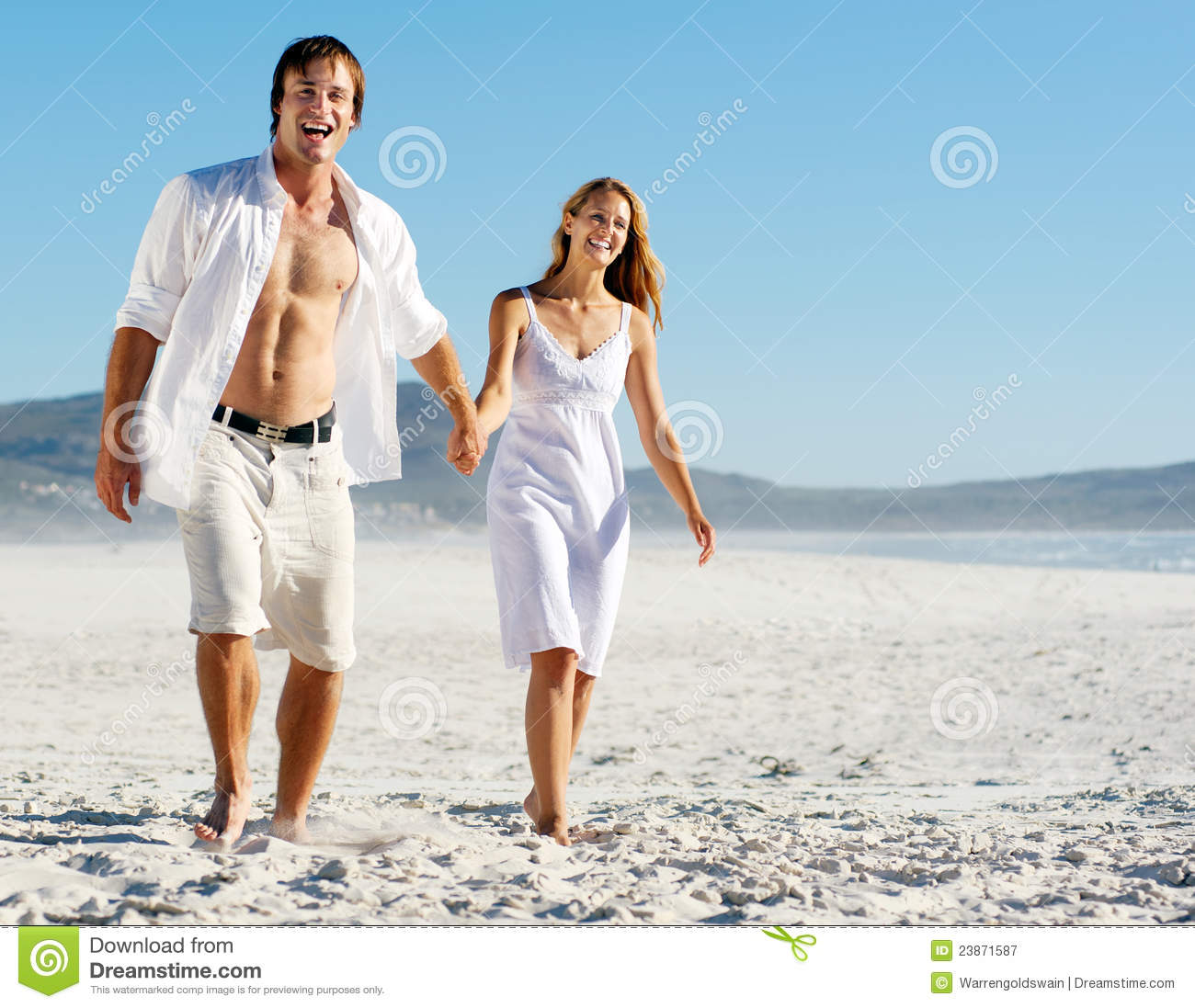 Couple At The Beach Stock Image Image Of Caucasian: Carefree Walking Beach Couple Stock Image