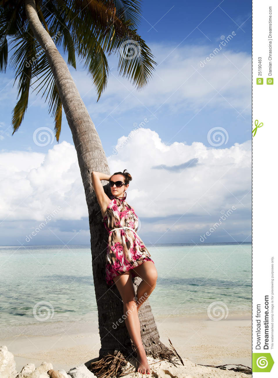 Carefree Young Woman On Island Vacation Stock Photos ...