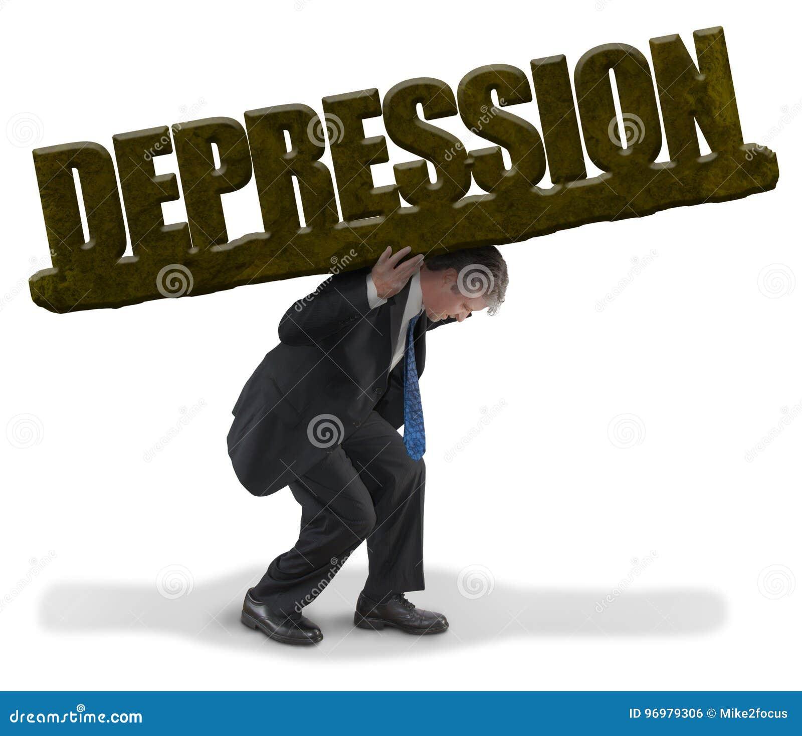 A carga levando do homem triste da DEPRESSÃO gosta do peso pesado da rocha