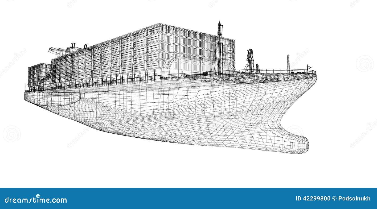 Cargaison de navire porte conteneurs illustration stock for Structure conteneur