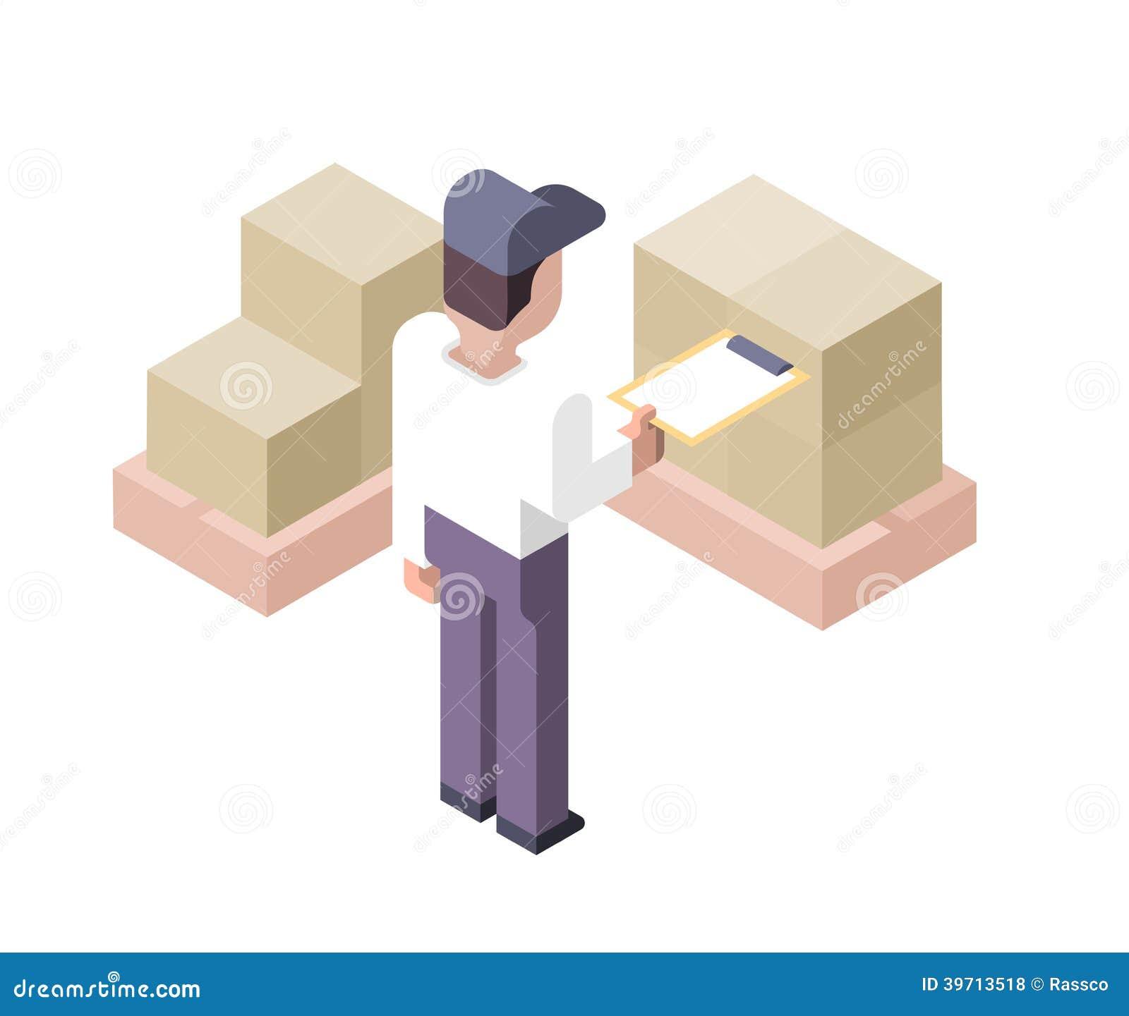 Cargo Checking. Distribution Center Stock Vector - Image: 39713518