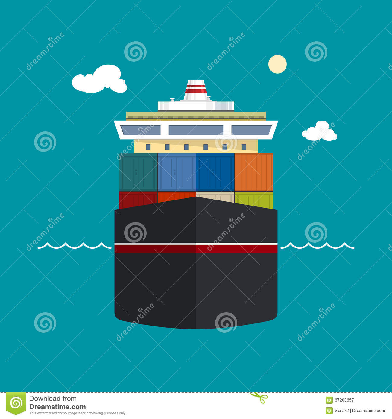 cargo container shipfront view stock vector image 67200657