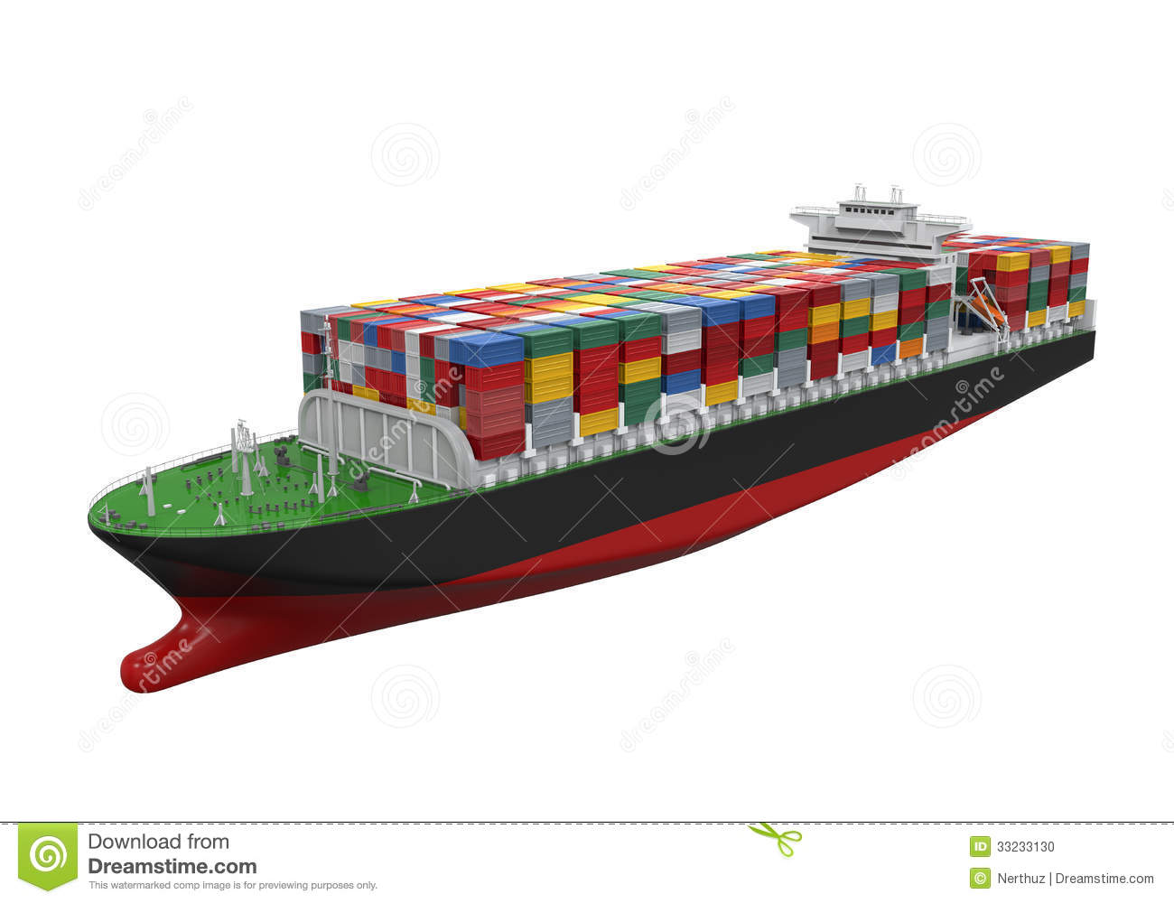Cargo Container Ship Isolated Stock Photo - Image: 33233130