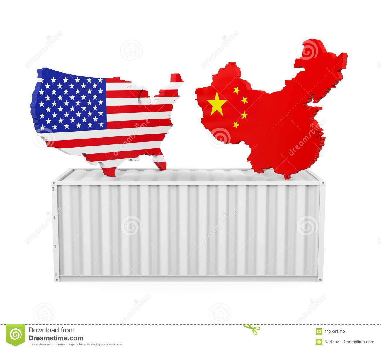 China And Us Map.Cargo Container With United States And China Map Isolated Trade War
