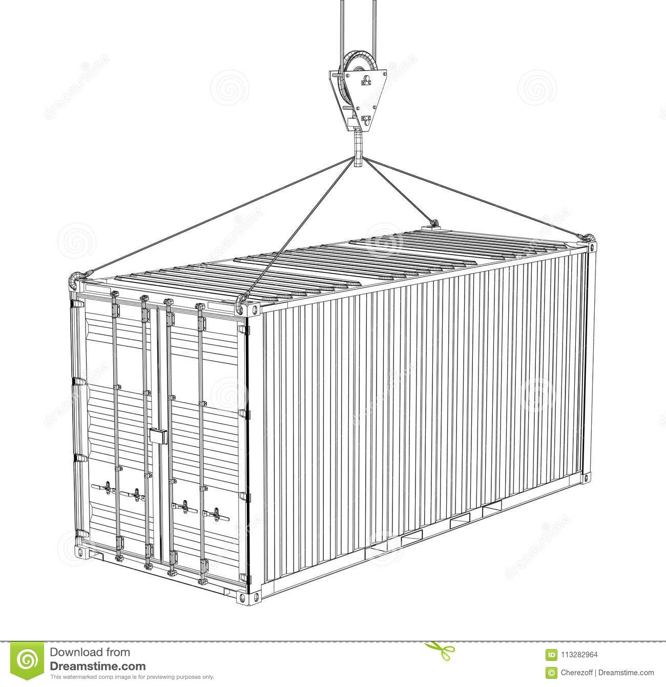 Cargo Container. Wire-frame Style Stock Illustration - Illustration ...