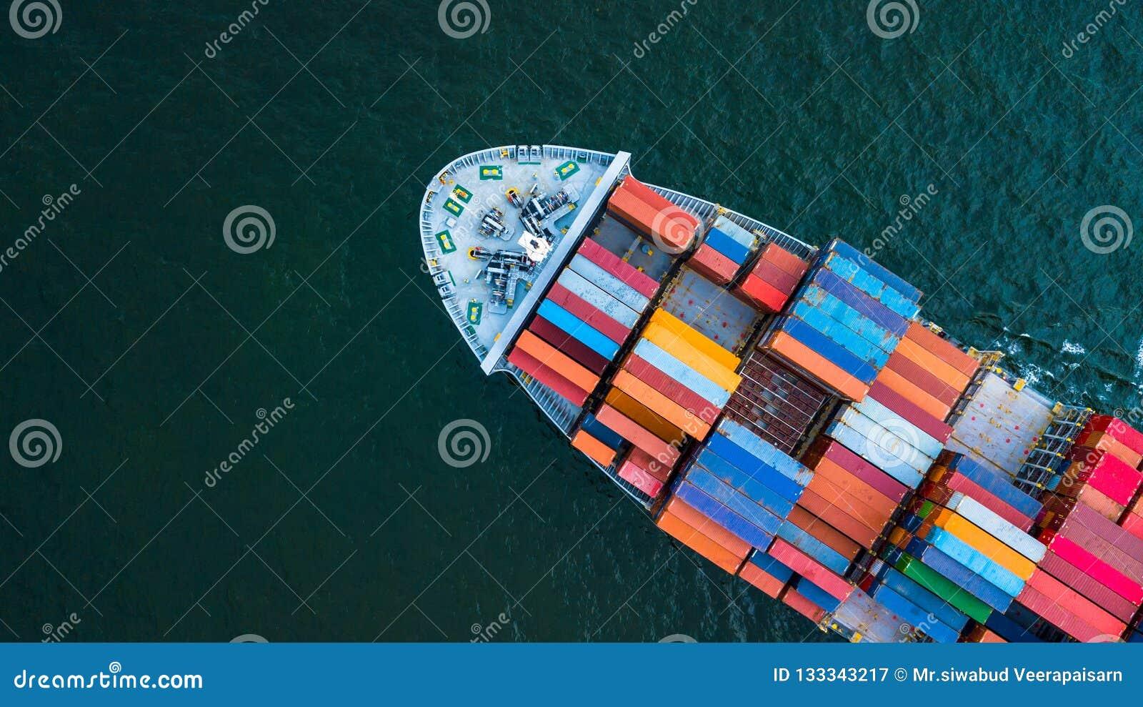 Cargo de conteneur de vue aérienne, inte de expédition de fret d affaires
