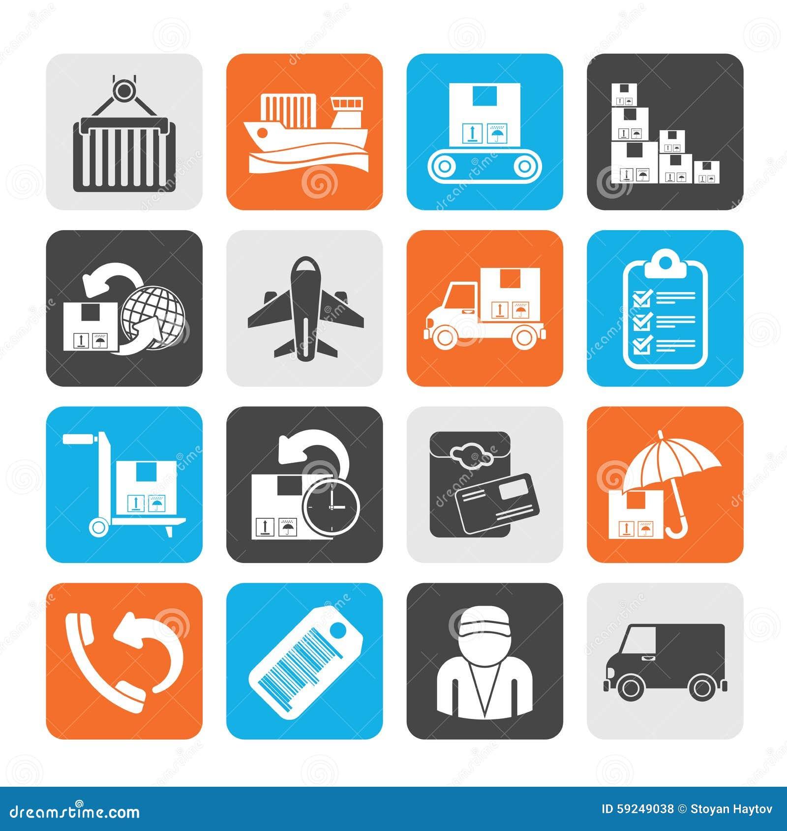 Cargo de la silueta, envío e iconos de la entrega