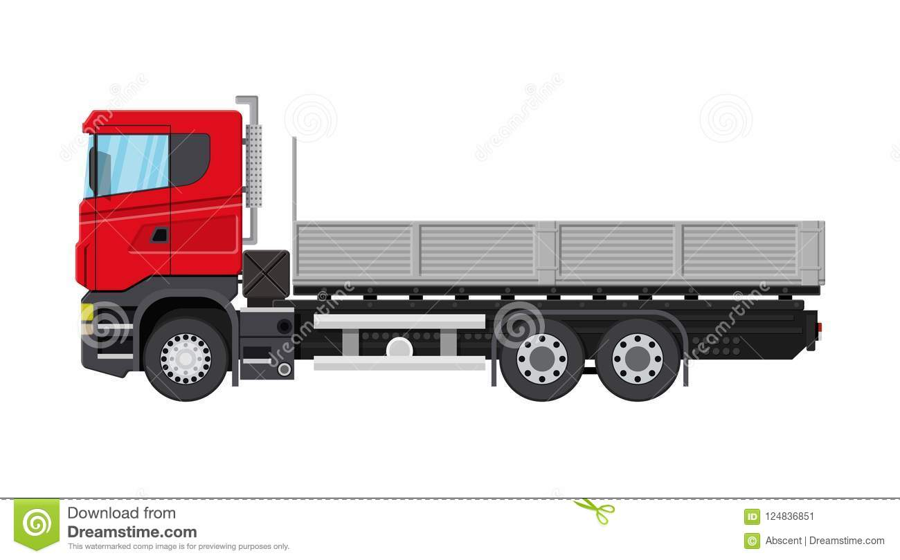 Cargo Delivery Truck With Platform Stock Vector - Illustration of