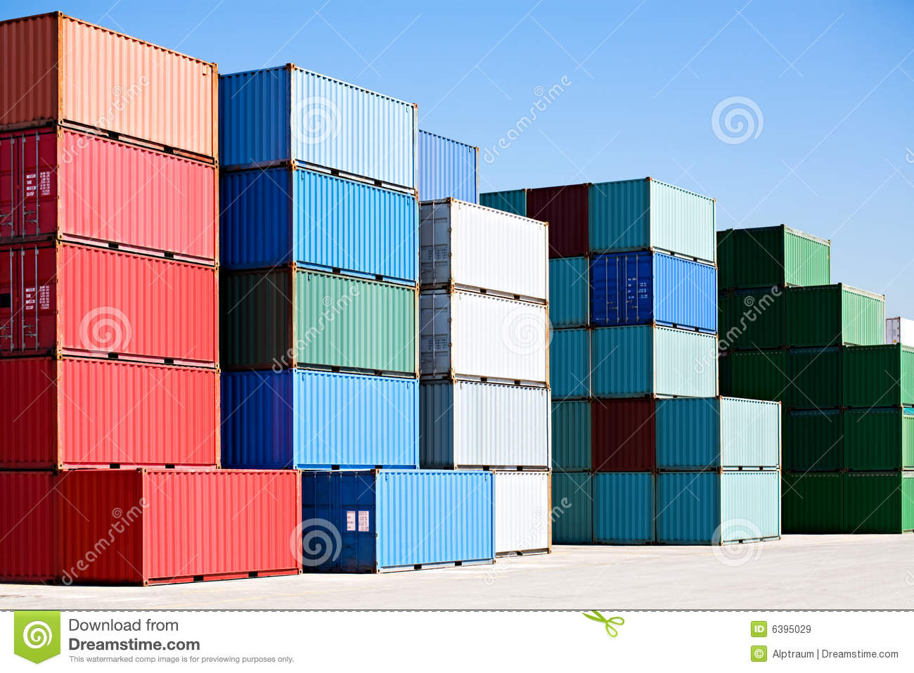 Cargo freight containers at harbor terminal