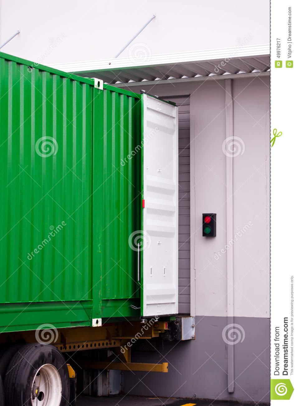 Cargo Green Container At Dock Warehouse Under Loading